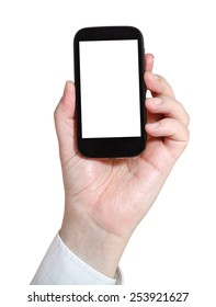 businessman holds smartphone with cut out screen isolated on white background
