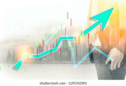 Businessman and Hong Kong city view with blue bull chart on background. double exposure