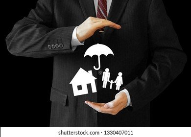 Businessman, house and family  concept