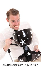 Businessman with a huge coffee cup. Wearing a white shirt and tie. White background.