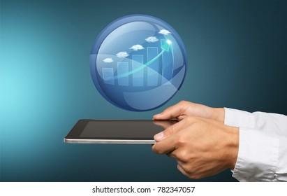 Businessman and illustration chart icon