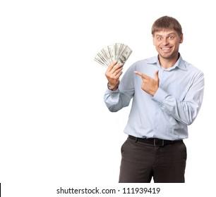 Businessman.Man indicate to money