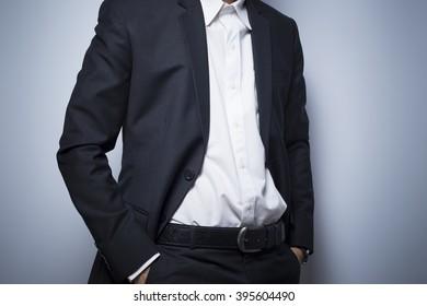 Businessman informal akimbo action