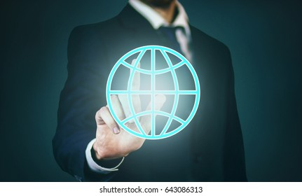 Businessman interacting with a virtual world map