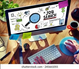 Businessman Internet Online Job Search application Concept