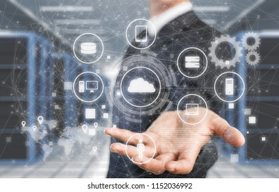 Businessman and internet and virtual reality concept
