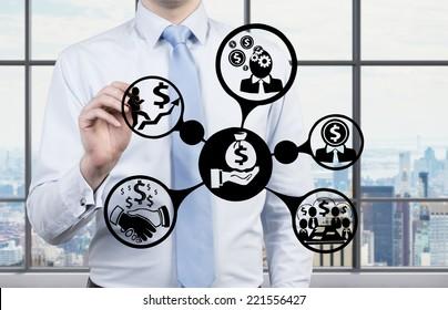 Businessman inventing a business investment scheme.