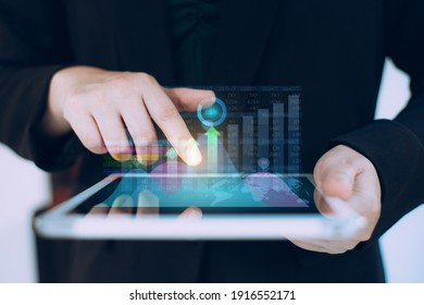 Businessman investment analyzing company financial report balance. Working with high technology digital augmented reality graphics. Concept for business, economy and marketing.  3D illustration.