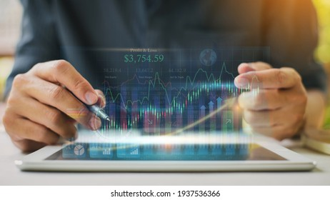 Businessman investment analyzing company financial report balance statement working with digital augmented reality technology. Concept for business, economy and stock marketing. 3D illustration.
