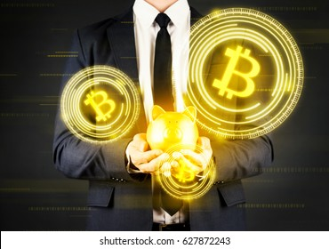 Businessman investment in bitcoin