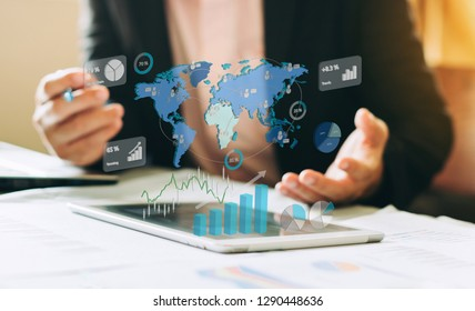 businessman investment consultant analyzing company financial report balance sheet statement working with digital graphs. Concept picture for stock market, office, tax,and project. 3D illustration.