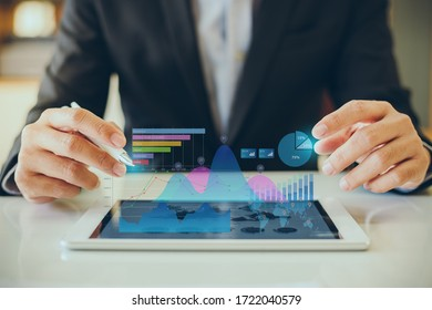 Businessman investment consultant analyzing company financial report balance statement working with digital augmented reality graphics. Concept for business, economy and marketing. 3D illustration.