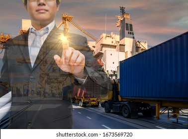 businessman investment to global network and logistics industrial with worldwide imports and exports transportation background. distribution, delivery business, commercial or supply chain concept