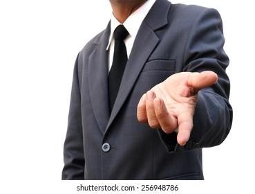 businessman invited hand