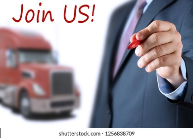 Businessman  inviting  new drivers to the truck company