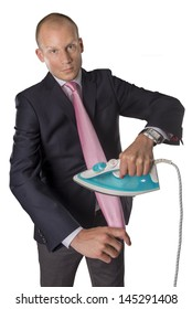 Businessman ironing tie isolated on white background