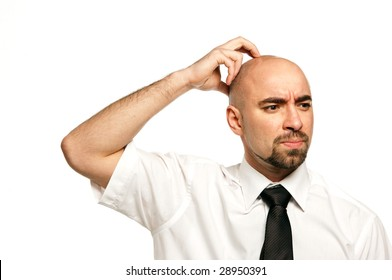 Businessman isolated on a white background looking worried