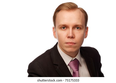 Businessman. Isolated over white.