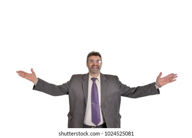 Businessman Isolated, Portrait of Happy Company leader CEO Boss Executive Standing Open Arms Wide. Congrats To Joy Our Teamwork Concept.