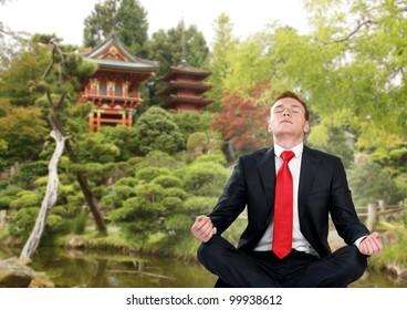 businessman in japan garden do yoga exercise