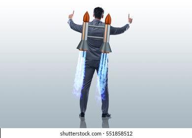 Businessman with jet pack in business concept