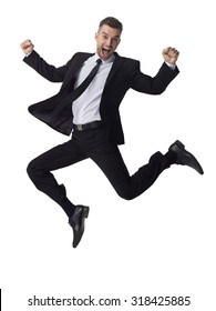 Businessman jumping full length portrait isolated on white background