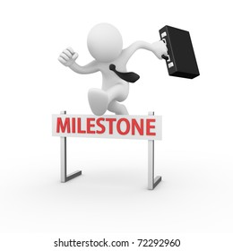 Businessman jumping over a hurdle obstacle titled Milestone