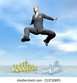 Businessman jumping upon chessboard by beautiful day - 3D render