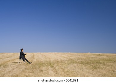 businessman just looking to the nature