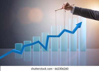 Businessman keeping the growth in economy