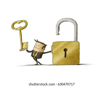 Businessman with a key  in a hand and an opend padlock. It is a metaphor to find a solution or a security metaphor. isolated, white background