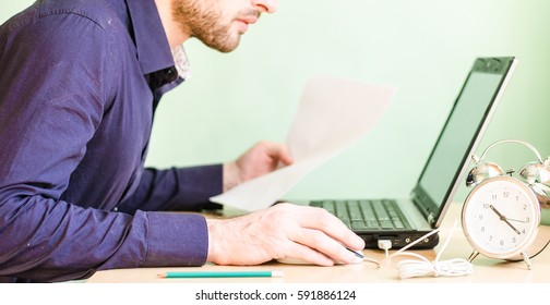 businessman, laptop, desktop