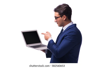 Businessman with laptop isolated on white