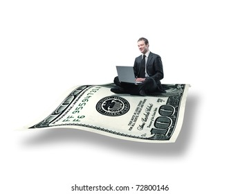 businessman with laptop on 3d flying dollar