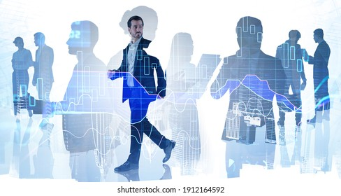 Businessman and leadership at corporate world. Stock exchange rates forecasting and financial charts. New York city on background. Double exposure