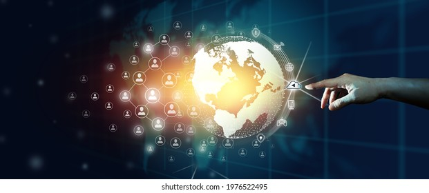 Businessman Leading the global world business community of network communication connected. Digital and technological convergence with abstract blue background.