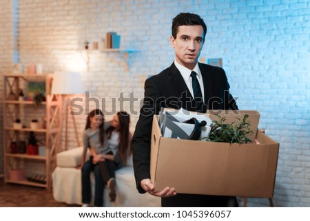businessman leaves house stuff box father stock photo edit now