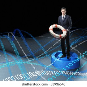 Businessman with Life Buoy Rescue in web metaphoric sea
