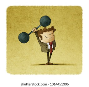 businessman is lifting weights. concept of strength in business