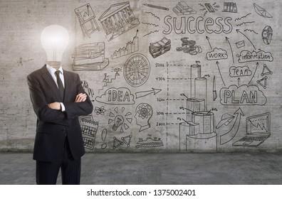 A businessman with a light bulb instead a head