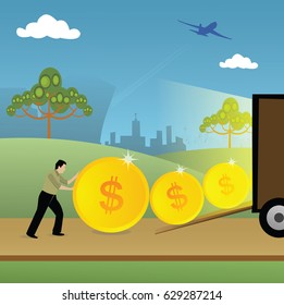 Businessman loading coins in a truck