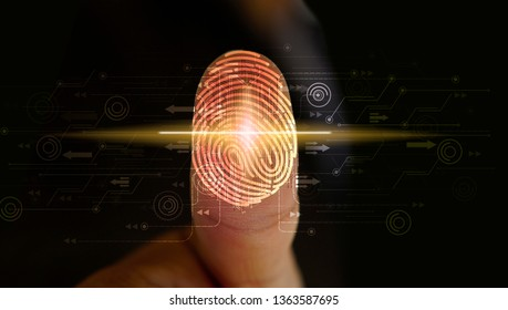 Businessman login with fingerprint scanning technology. Security system concept