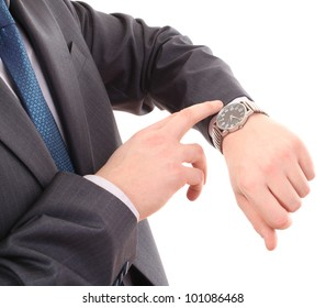 Businessman look his watch, isolated on a white background