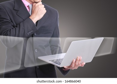 Businessman look and think his business with laptop