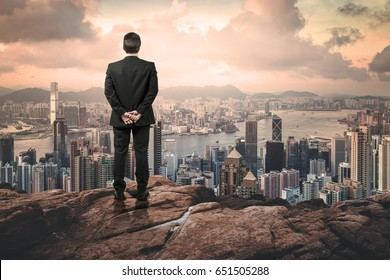 businessman looking the city up from the hill