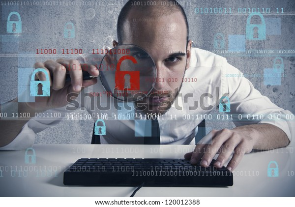 Businessman looking in a computer for virus and hacker