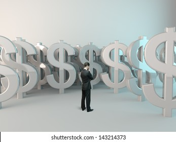 businessman looking at dollar symbol