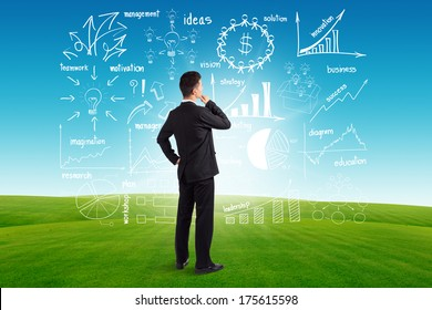 Businessman looking to the future creative drawing charts and graphs business success strategy plan idea, on blue sky and green grass background