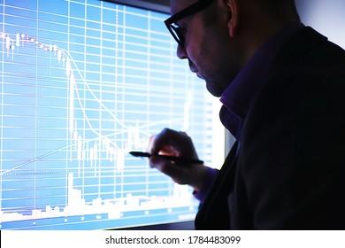 Ein Geschäftsmann betrachtet ein Diagramm auf einem Monitor. Ein Börsenmakler bewertet die Börsentrends. Ein Mann mit Brille vor einer Kurve der Dynamik der Wirtschaft.