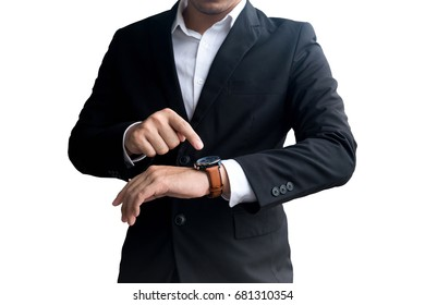 Businessman looking at his watch on his hand. isolate on white background